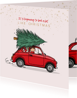 Kerstkaart Fiat 500 rood