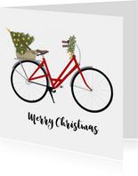 Kerstkaart Fiets met Kerstboom achterop