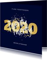 Kerstkaart fijne feestdagen 2020 nieuwjaar goud confetti