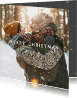 Kerstkaart foto-effect  sneeuw en goudstipjes isf