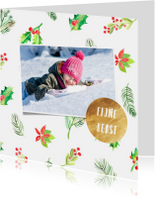 Kerstkaarten - Kerstkaart foto en hulstblaadjes