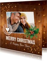 Kerstkaart foto hout kerstkrans confetti goudlook