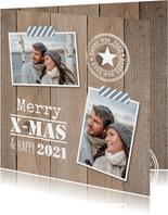 Kerstkaart foto houtlook stempels