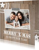 Kerstkaart foto houtlook vierkant