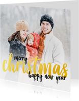 Kerstkaart - foto met gouden letters - merry christmas