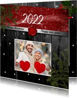 Kerstkaart foto op hout 2022