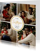 Kerstkaart fotocollage met cirkel en 4 foto's