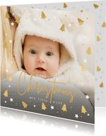 Kerstkaart fotokaart met eigen foto en gouden kerstboompjes