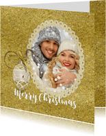Kerstkaart fotolijst in goudtinten