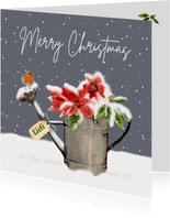 Kerstkaart gieter met roodborstje