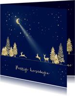 Kerstkaart goud-illustratie op blauw
