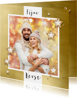 Kerstkaart goud kader en sterren bij eigen foto