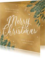 Kerstkaart goud merry christmas zakelijk