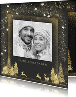 Kerstkaart goud op grijs met foto