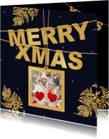 Kerstkaart goud Xmas en foto