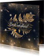 Kerstkaart gouden blad en sterren