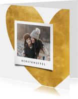 Kerstkaart gouden hart met foto