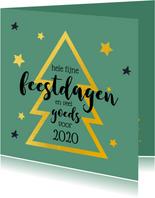 Kerstkaart gouden kerstboom groen 2020