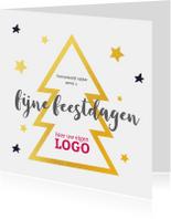 Kerstkaart gouden kerstboom logo