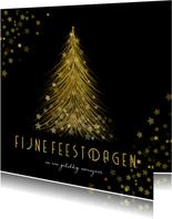Kerstkaart gouden kerstboom met sterren Fijne Feestdagen