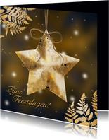 Kerstkaart gouden ster en blad