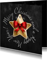 Kerstkaart gouden ster en strik