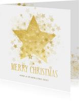 Kerstkaart gouden ster stijlvol Merry Christmas