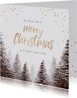 Kerstkaart goudlook confetti kerstbomen winter
