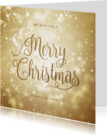 Kerstkaart goudlook met sneeuw Merry Christmas