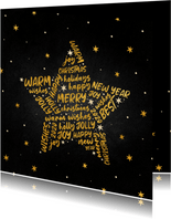 Kerstkaart goudlook ster met woorden krijtbord