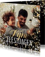 Kerstkaart grote foto Fijne Feestdagen confetti