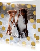 Kerstkaart grote foto, gouden confetti en fijne feestdagen!