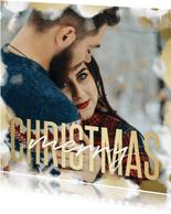 Kerstkaart grote foto met gouden kader en merry christmas