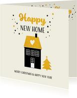 Kerstkaart happy new home met goudkleur accenten