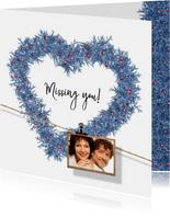 Kerstkaart hart en label blauw