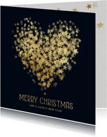 Kerstkaart hart van sterren in goud