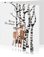Kerstkaart Herten in het bos