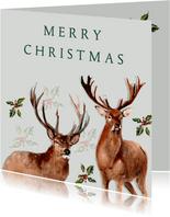 Kerstkaart Herten met hulst