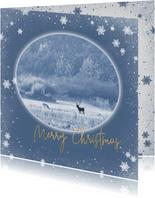 Kerstkaart hertenpaar in de natuur