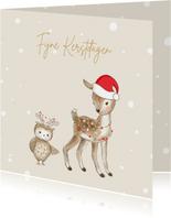 Kerstkaart - Hertje en uil met kerstmuts en lampjes