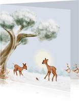 Kerstkaart hertjes en roodborst in de sneeuw