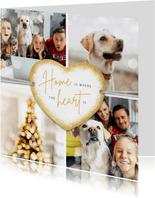 Kerstkaart hertjes goud persoonlijk foto gedicht kerstboom