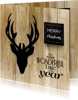 Kerstkaart hip hert hout, krijtbord en eigen foto's