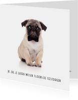 Kerstkaart hond mopshond met strikje