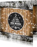 Kerstkaart hout en wens