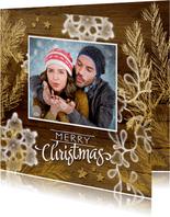 Kerstkaart hout goud chique met eigen foto