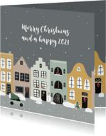 Kerstkaart huizen in wintersfeer