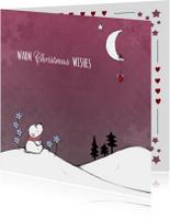Kerstkaart ijsbeer en maan - IH