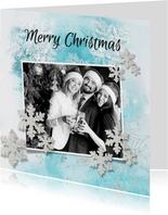 Kerstkaart ijsblauw winter eigen foto en logo