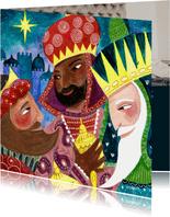 Kerstkaart illustratie drie koningen / wijzen relikwieen